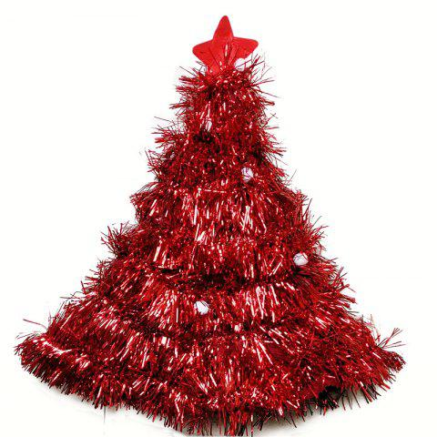 Christmas Hats Red Silver Green Tree With Star For Adult And Kids - RED 50*42CM