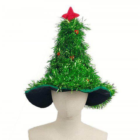 Christmas Hats Red Silver Green Tree With Star For Adult And Kids - DEEP GREEN 50*42CM