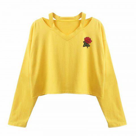 Womens Long Sleeve Sweatshirt Rose Print Causal Tops Blouse - YELLOW S