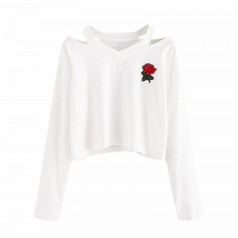 Womens Long Sleeve Sweatshirt Rose Print Causal Tops Blouse - WHITE M