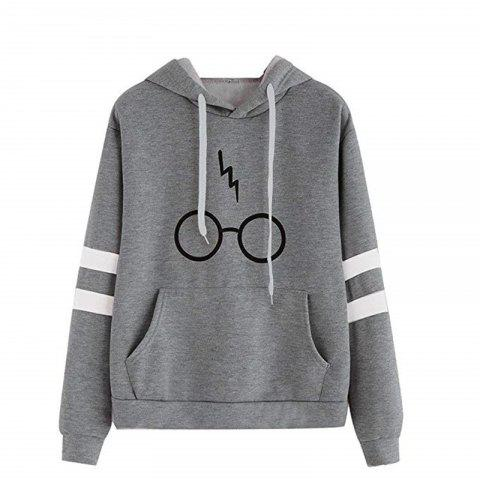 Women Hooded SweatshirtLong Sleeve Hoodie Sweatshirt Jumper Hooded Pullover Top - DARK GRAY M
