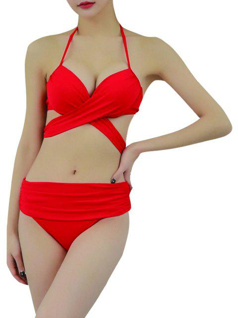 Nature Sexy Swimwear Bikini Lace-up Women's Two-Piece Swimming Suit - RED M