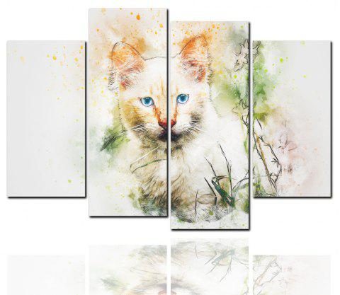 4 Pcs HD Inkjet Paints Abstract Cat Animal Decorative Painting - multicolor 40CM*80CM*2PCS+40CM*100CM*2PCS
