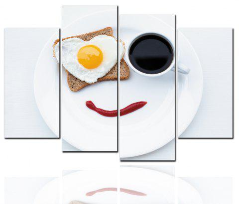 4 Pcs HD Inkjet Paints Love Egg Coffee Breakfast Decorative Painting - multicolor 30CM*60CM*2PCS+30CM*80CM*2PCS