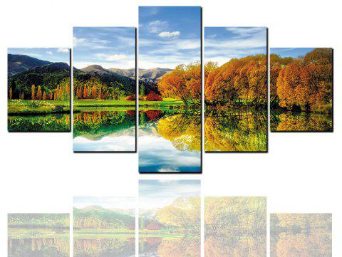 5 Pcs HD Inkjet Paints Lakeside Reflection Landscape Decorative Painting - multicolor 1PC X 16 X 39,2PCS X 16 X 24,2PCS X 16 X 31 INCH(