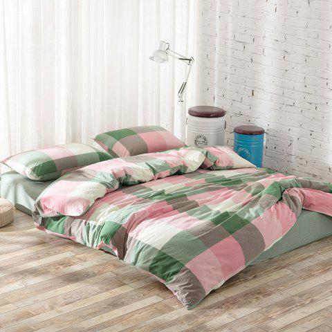 Cotton Yarn Dyed Wash Cotton Double Bedding Four Piece Set - PINK QUEEN SIZE