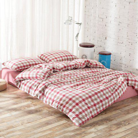 Cotton Yarn Dyed Wash Cotton Double Bedding Four Piece Set - VALENTINE RED QUEEN SIZE