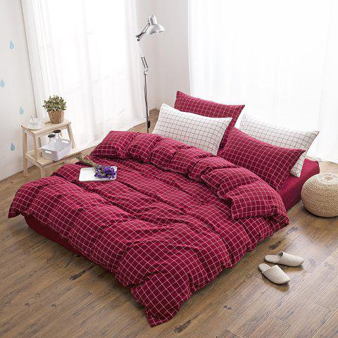 Cotton Yarn Dyed Wash Double Red Lattice Bedding Four Piece Set - RED QUEEN SIZE