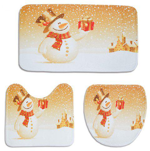 Christmas Toilet Mat Three-Piece Non-Slip Absorbent Bathroom Carpet - GOLDEN BROWN PACK OF 3