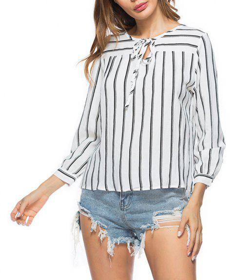 Autumn Striped Casual Shirt Blouse - BLACK S