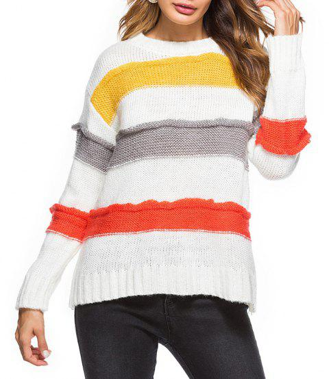 Couleur d'automne assorti facile loisirs grande taille pull femme - Blanc ONE SIZE