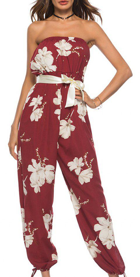 Sexy Summer Collect Waist with Floral Jumpsuits - RED L