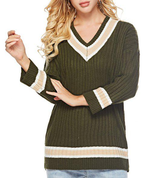 Autumn Winter V Collar Bottoming Jacket Long Sleeved Sweater Sweater - ARMY GREEN ONE SIZE