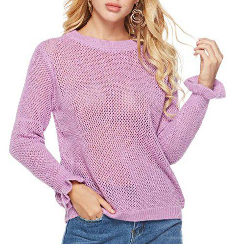 Autumn Hollowed Lotus Leaf Head Sweater Round Collar Long Sleeved Sweater - PURPLE ONE SIZE