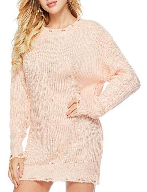 Autumn Winter Rainbow Round Neck Collar Sweater Loose Bottoming Sweater - PINK ONE SIZE