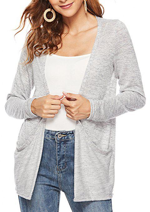 Autumn V Long Sleeved Women'S Wear Cardigan Knitted Jacket - LIGHT GRAY M