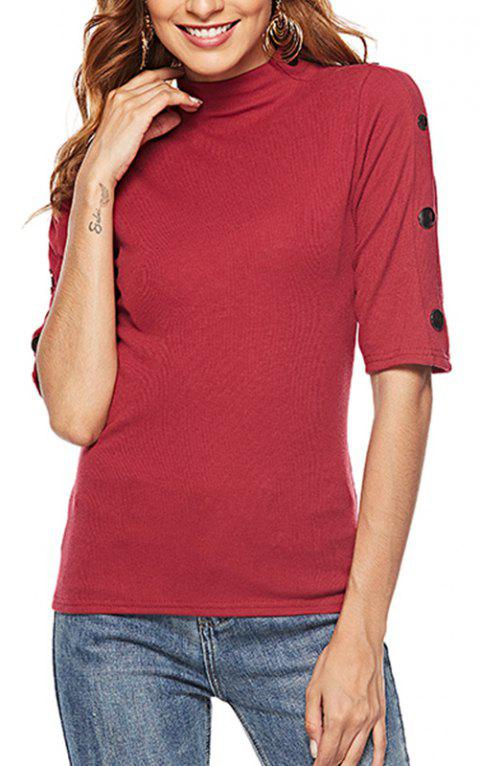 Autumn Women'S Wear Five Point Sleeves T-Shirt Primer Girl - RED M