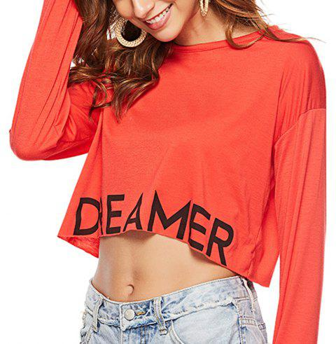 Autumn Simple Casual Printed Half Length Short Sleeved T-Shirt - RED M