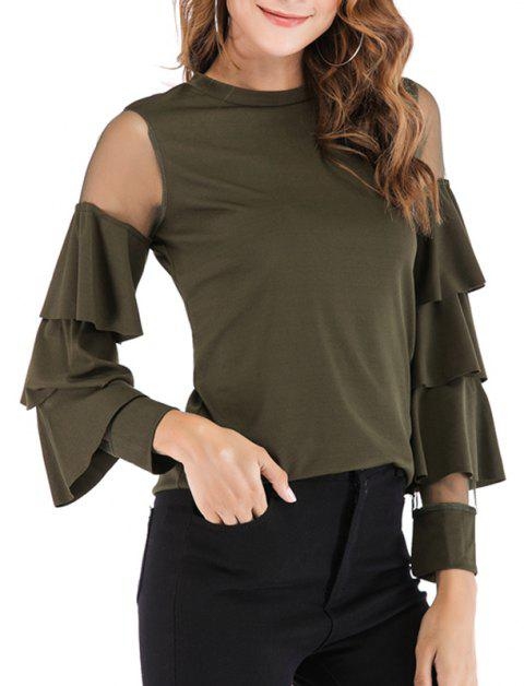Autumn Round Neckline Netting Trumpet Sleeves T-Shirt Tops - ARMY GREEN L