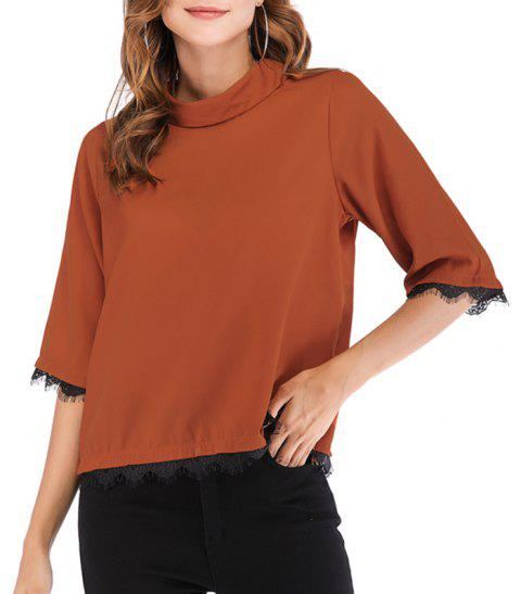 Sleeve T-Shirt in Autumn Lace Collar Chiffon Shirt - CHESTNUT RED S