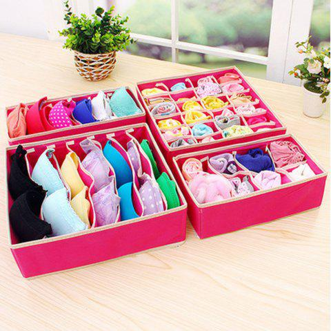 Four Sets of Underwear Storage Boxes - ROSE RED PACK OF 4