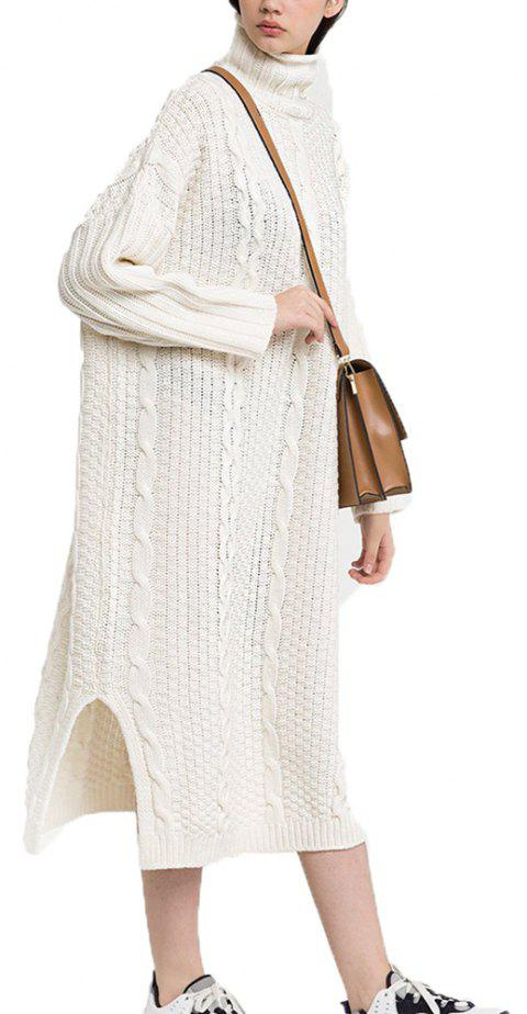 High-Waist Twist Braided Side Slit Loose Knit Dress - WHITE XL