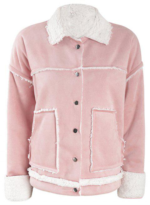 Concise Sweet Lovely Pink Coat - Rose 2XL