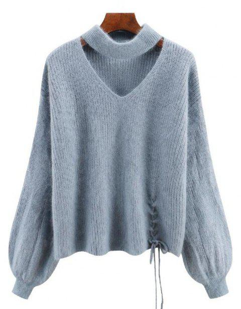 Women's Long Sleeve Round Collar Fashion Sweater - GRAY ONE SIZE