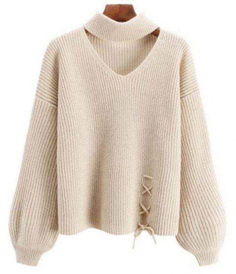 Women's Long Sleeve Round Collar Fashion Sweater - WARM WHITE ONE SIZE
