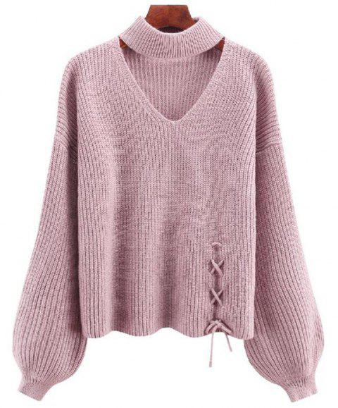 Women's Long Sleeve Round Collar Fashion Sweater - PIG PINK ONE SIZE