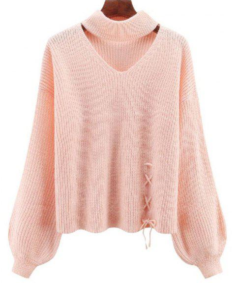 Women's Long Sleeve Round Collar Fashion Sweater - LIGHT PINK ONE SIZE