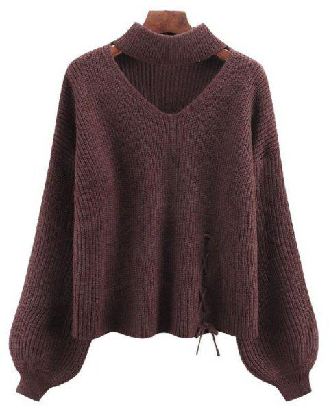 Women's Long Sleeve Round Collar Fashion Sweater - DEEP COFFEE ONE SIZE
