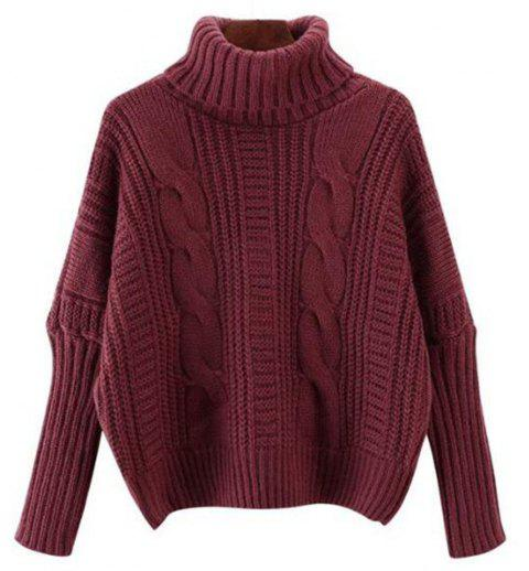 Women's Long Sleeve Loose Sweater - RED WINE ONE SIZE