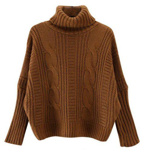 Women's Long Sleeve Loose Sweater - BROWN ONE SIZE