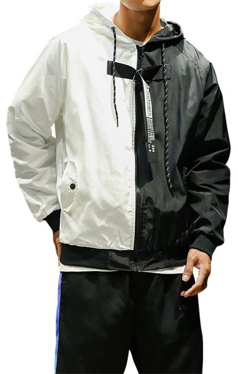 Men Hooded Colorblock Jacket - BLACK 5XL
