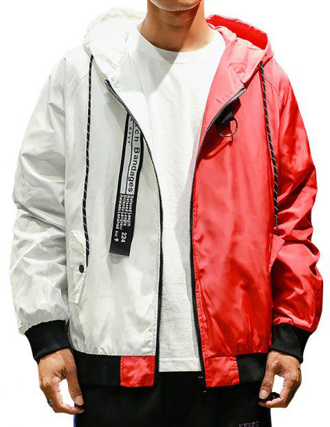 Men Hooded Colorblock Jacket - RED XL