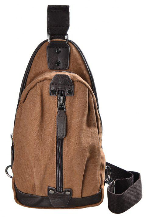 DGY Outdoor Canvas Chest Sling Bag Pack Daypack for Camping Hiking Trekking 213 - LIGHT BROWN