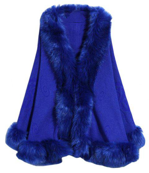 Women's Fashion  Multicolor Faux Fur Shawl Coat - BLUE ONE SIZE