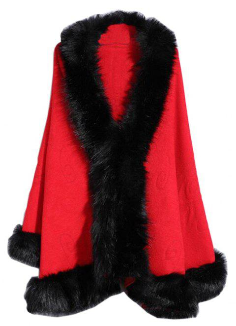 Women's Fashion  Multicolor Faux Fur Shawl Coat - RED ONE SIZE