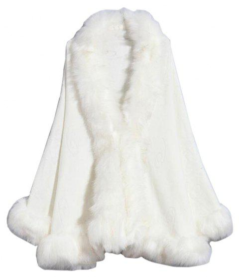 Women's Fashion  Multicolor Faux Fur Shawl Coat - WHITE ONE SIZE