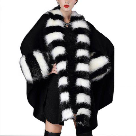 Women's Fashion Black and White Stripes Faux Fur Shawl Coat - BLACK ONE SIZE