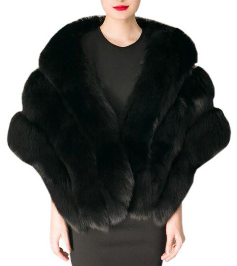 Women's Fashion top Grade Faux Fox Fur Shawl Coat - BLACK ONE SIZE