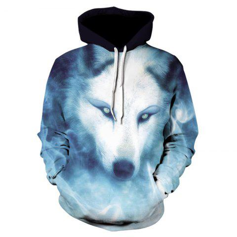 3D Glamour Print Men's Sweater Coat Wolves Casual Graphic T-shirt Hoodies - multicolor 2XL