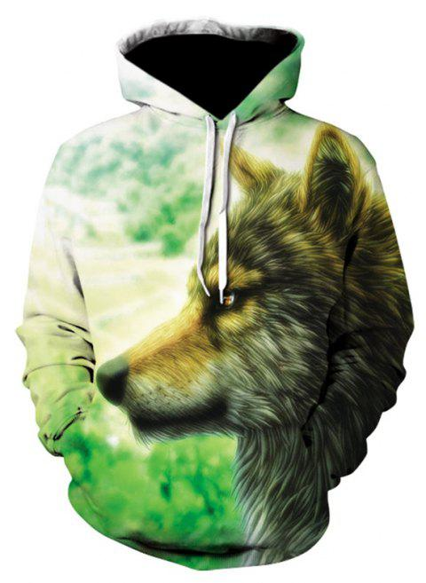3D Print Men's Sweater Coat Glamour Wolves Casual Graphic T-shirt Hoodies - multicolor 2XL