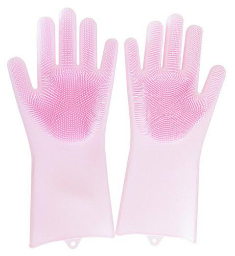 A Pair Magic Silicone Scrubber Rubber Cleaning Gloves Kitchen Helper - PINK
