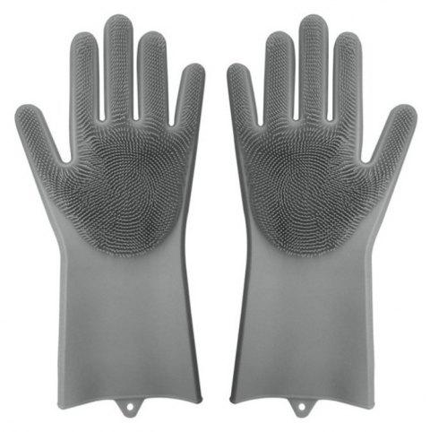 A Pair Magic Silicone Scrubber Rubber Cleaning Gloves Kitchen Helper - GRAY