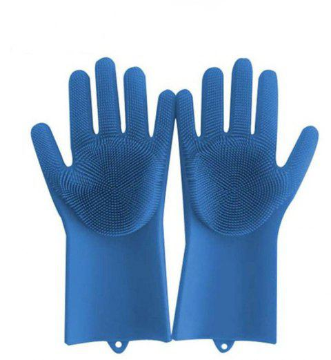 A Pair Magic Silicone Scrubber Rubber Cleaning Gloves Kitchen Helper - BLUE