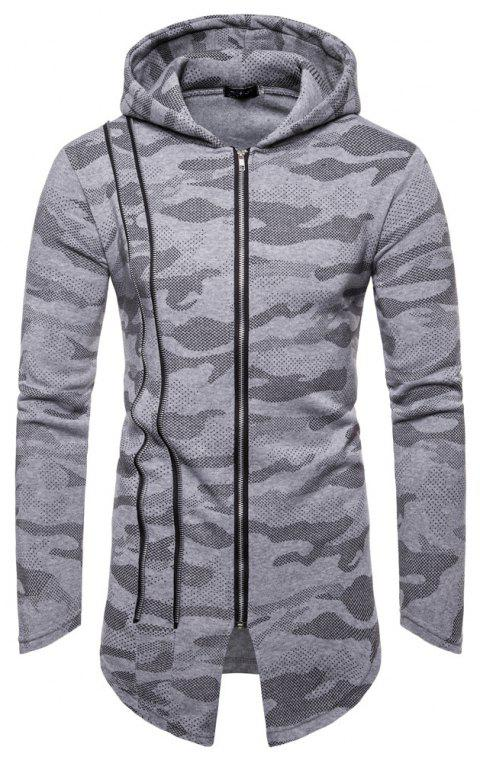 Man Sweater Camouflage Long Sleeves Hoodie Coat - GRAY XL