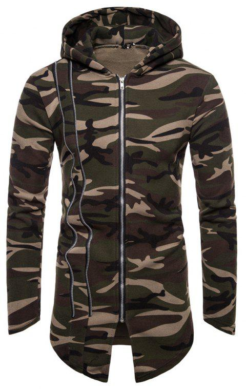 Man Sweater Camouflage Long Sleeves Hoodie Coat - ARMY GREEN L