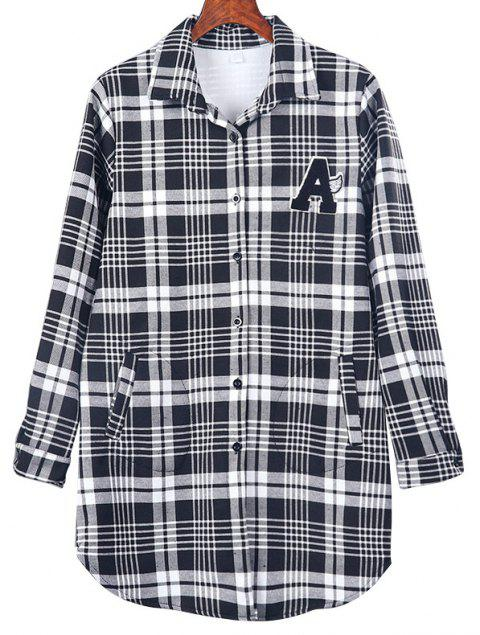 Plus Velvet Letter Plaid Long Sleeve Shirt - BLACK M